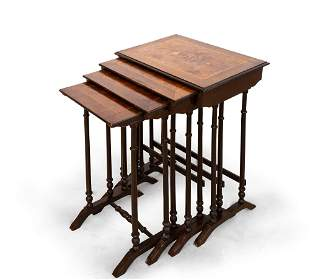 A French Wood Marquetry Nesting Side Tables, 19th