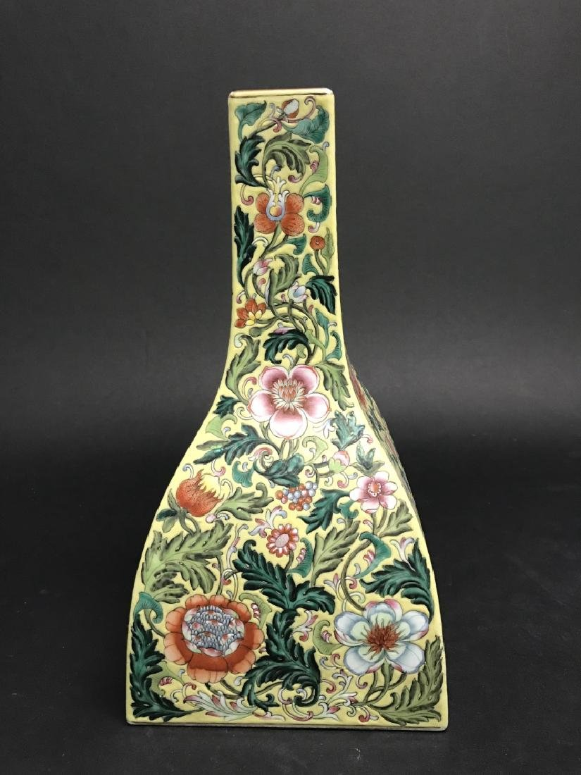 Chinese Yellow Ground Famille Rose Vase