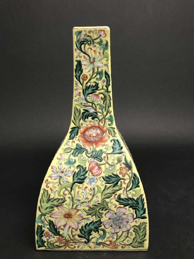 Chinese Yellow Ground Famille Rose Vase - 2
