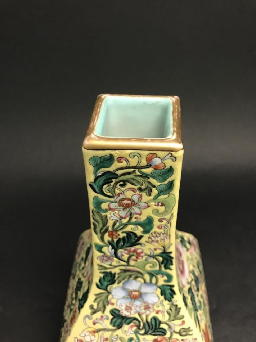 Chinese Yellow Ground Famille Rose Vase - 4