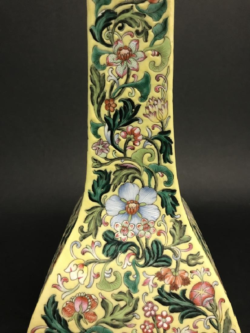 Chinese Yellow Ground Famille Rose Vase - 5