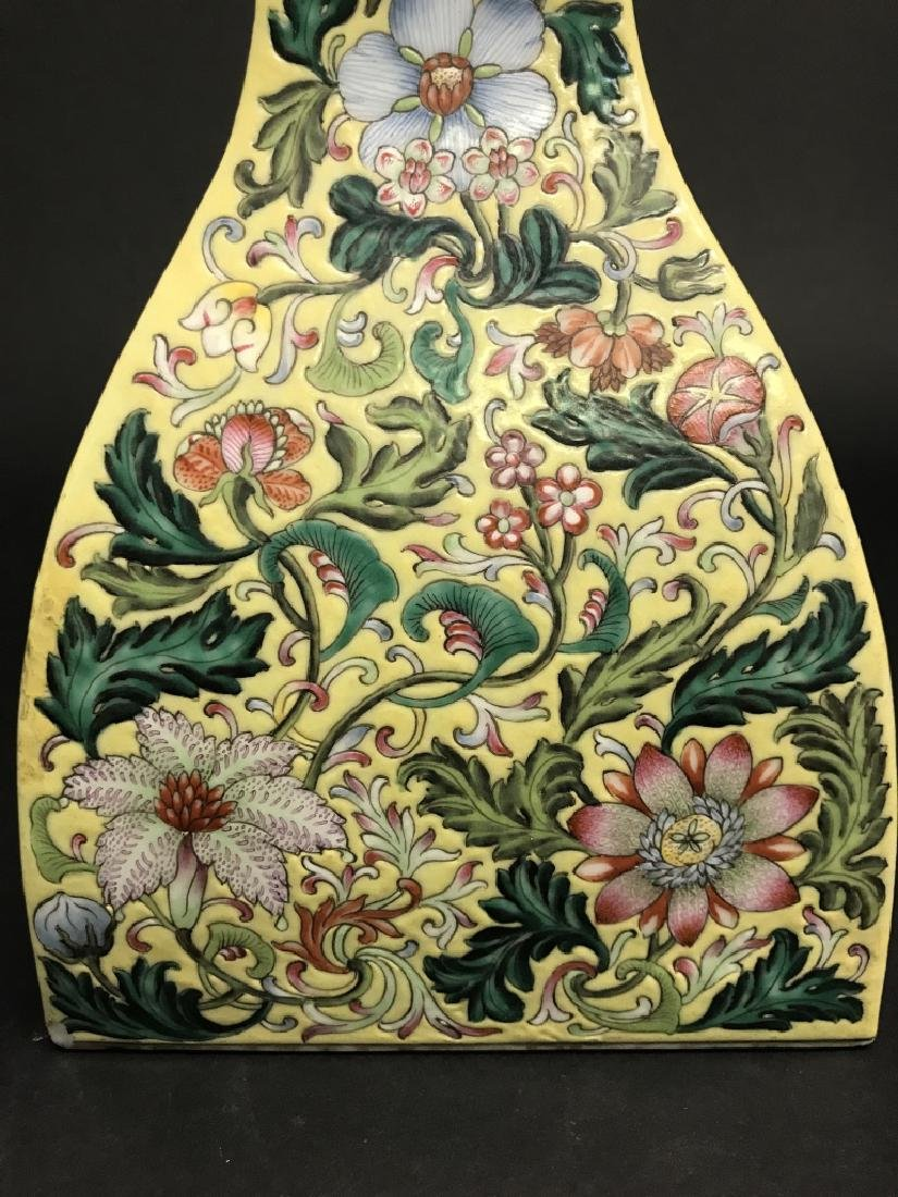 Chinese Yellow Ground Famille Rose Vase - 6