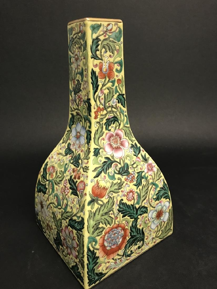 Chinese Yellow Ground Famille Rose Vase - 7