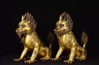 Pair of Chinese Gilt Bronze Qilin