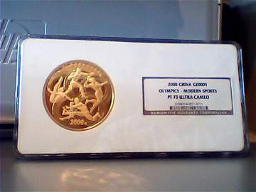 China 2008 Olympic 5 oz Gold with NGC pf70