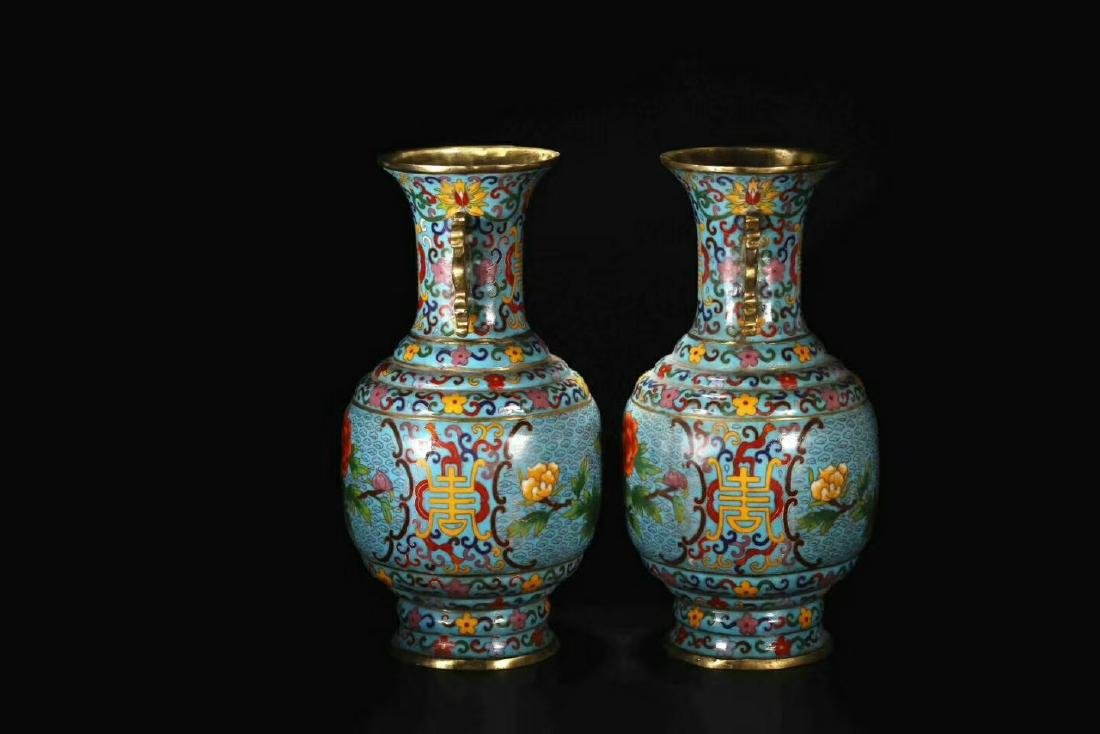 Qianlong Mark, A Pair of Cloisonne Bronze Vases