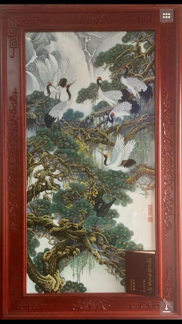 Zhang Songmao, A Famillr Rose Porcelain Plaque