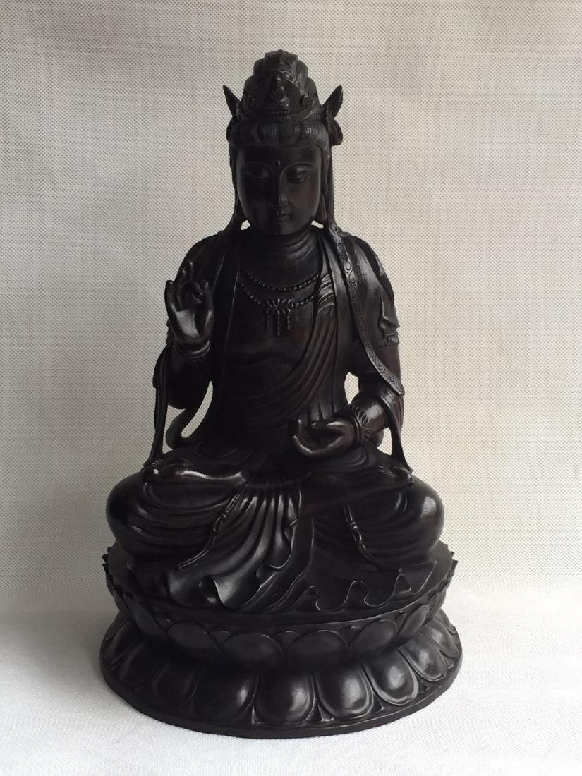 A Carved Zitan Wood Guanyin