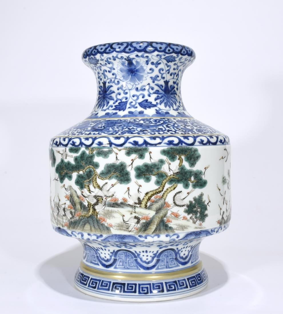Qianlong Mark, A Blue and Famille Verte Vase