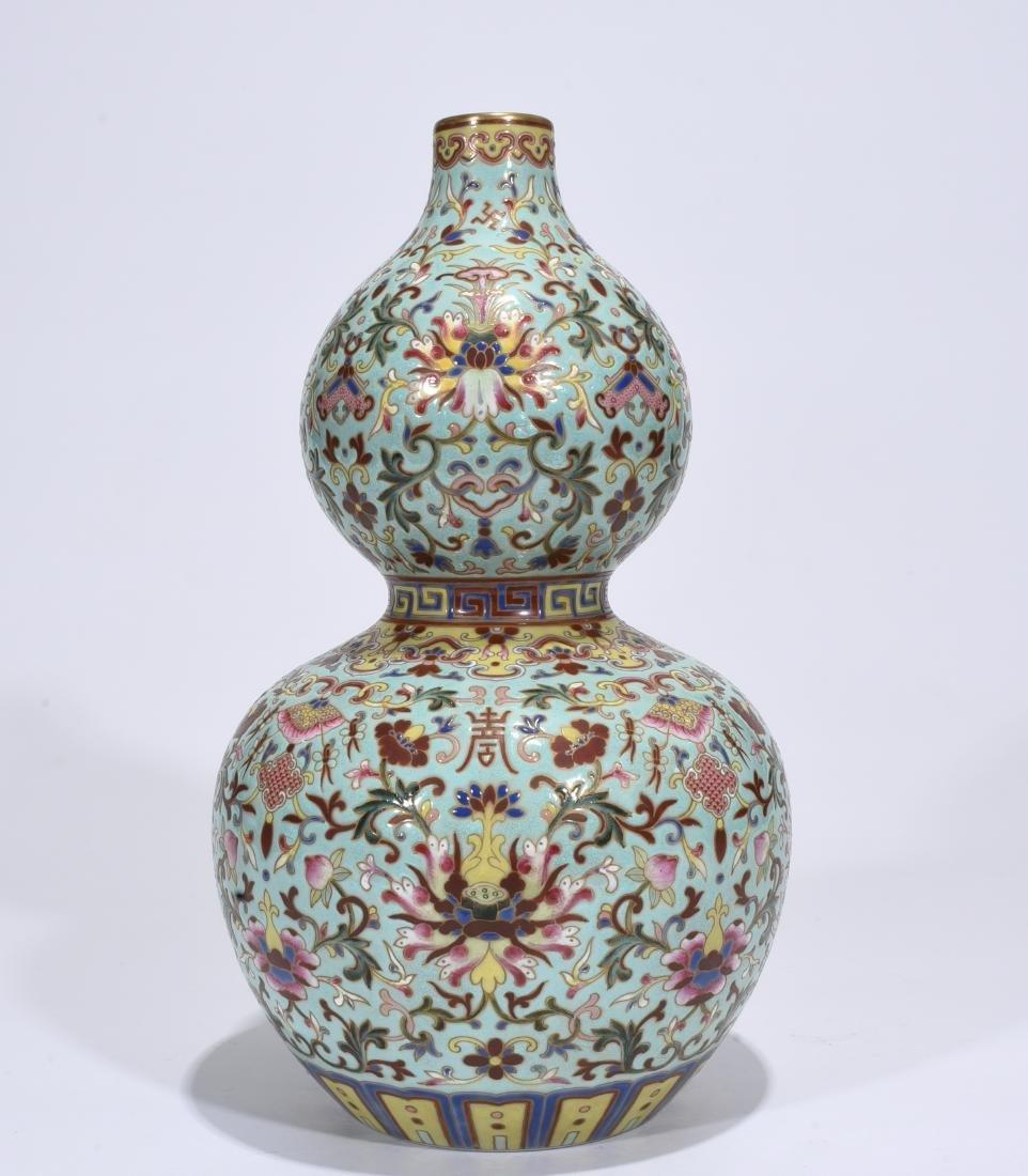 Qianlong Mark, A Famille Rose Gourd Vase