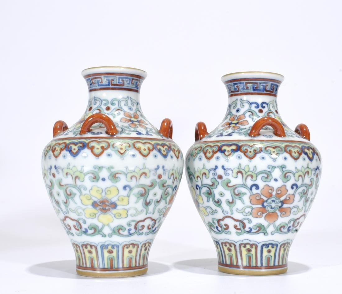 Yongzheng Mark, A Pair of Doucai Vases