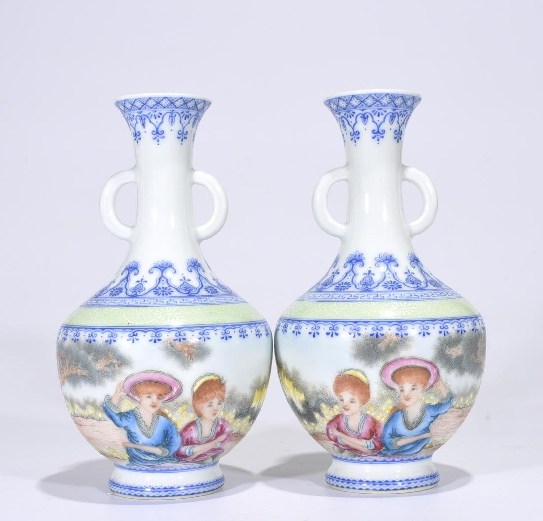 Yongzheng Mark, A Pair of Enameled Vases