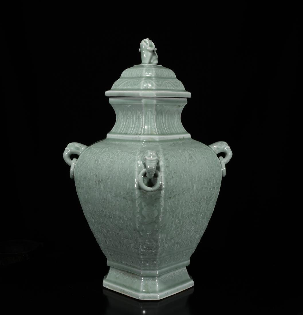 A Celadon Glazed Container