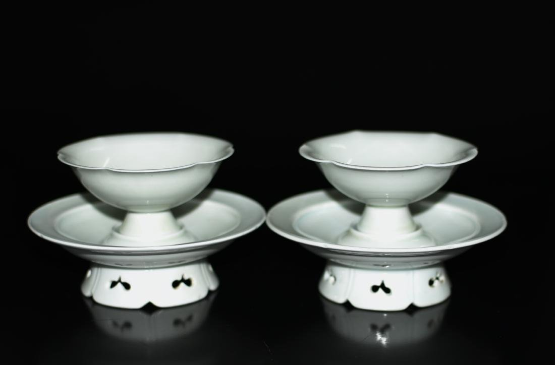 A Pair of Celadon Glazed Cups