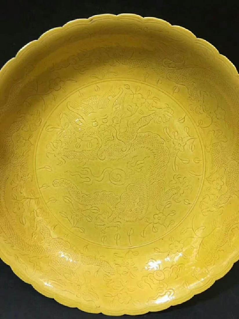 Qianlong Mark, A Carved Yellow Glazed Plate