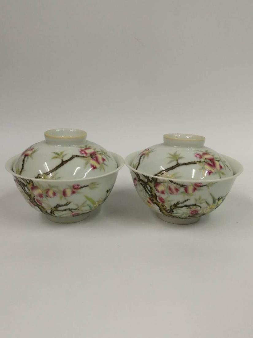 Yongzheng Mark, A Pair of Famille Rose Bowls