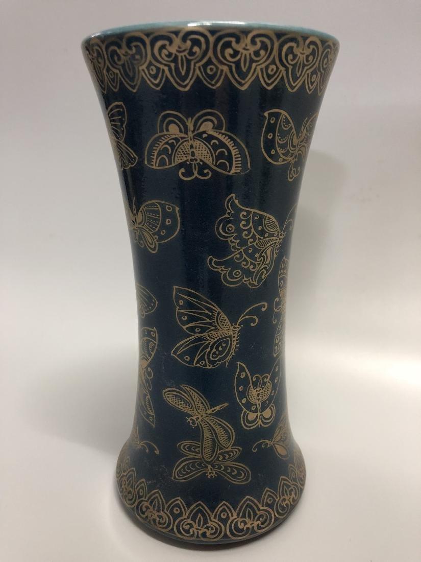 Qianlong Mark, A Blue Glazed and Gilt Gu Vase