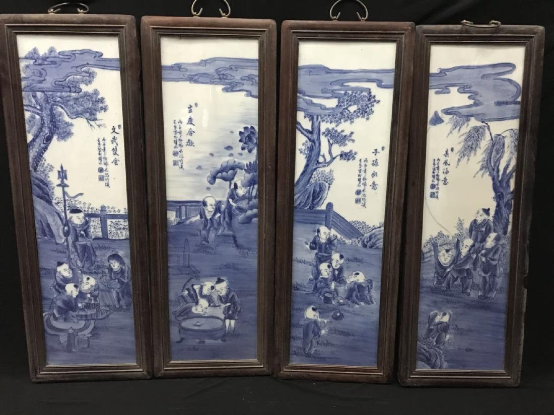 Four Blue and White Porcelain Plaque
