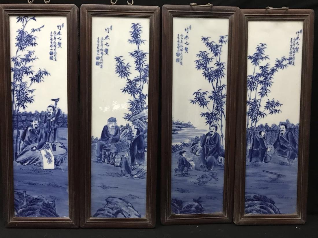 Four Blue Porcelain Plaque