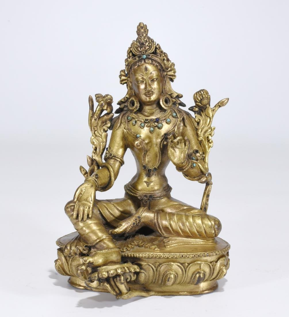 A Gilt Bronze Buddha of Guanyin