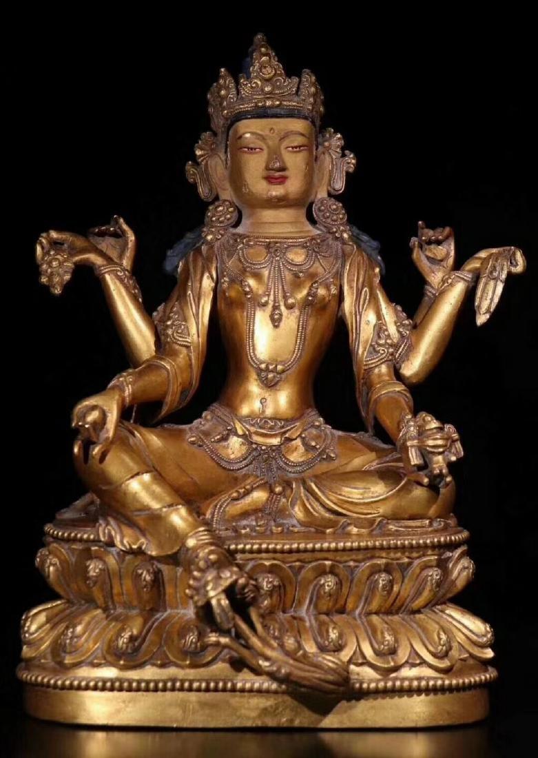 18 C., A Gilt Bronze Buddha Statue of Guanyin