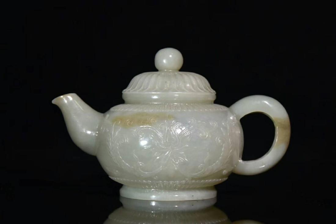 A Carved Hetian Jade Teapot
