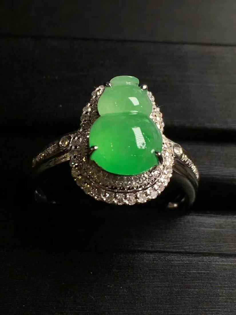 A Jadeite Ring With 18K White Gold Setting