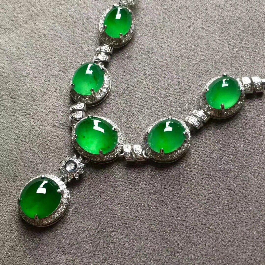 A Green Jadeite Necklace