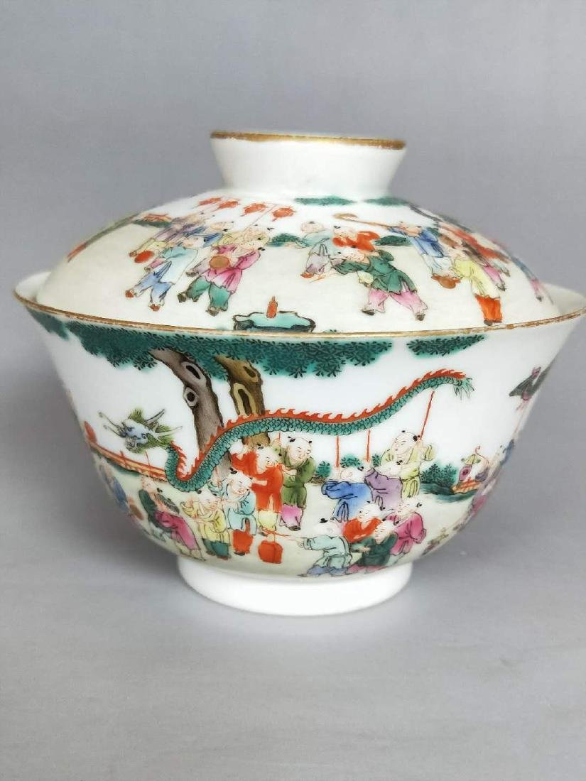 Qianlong Mark, A Famille Rose Bowl with Cover