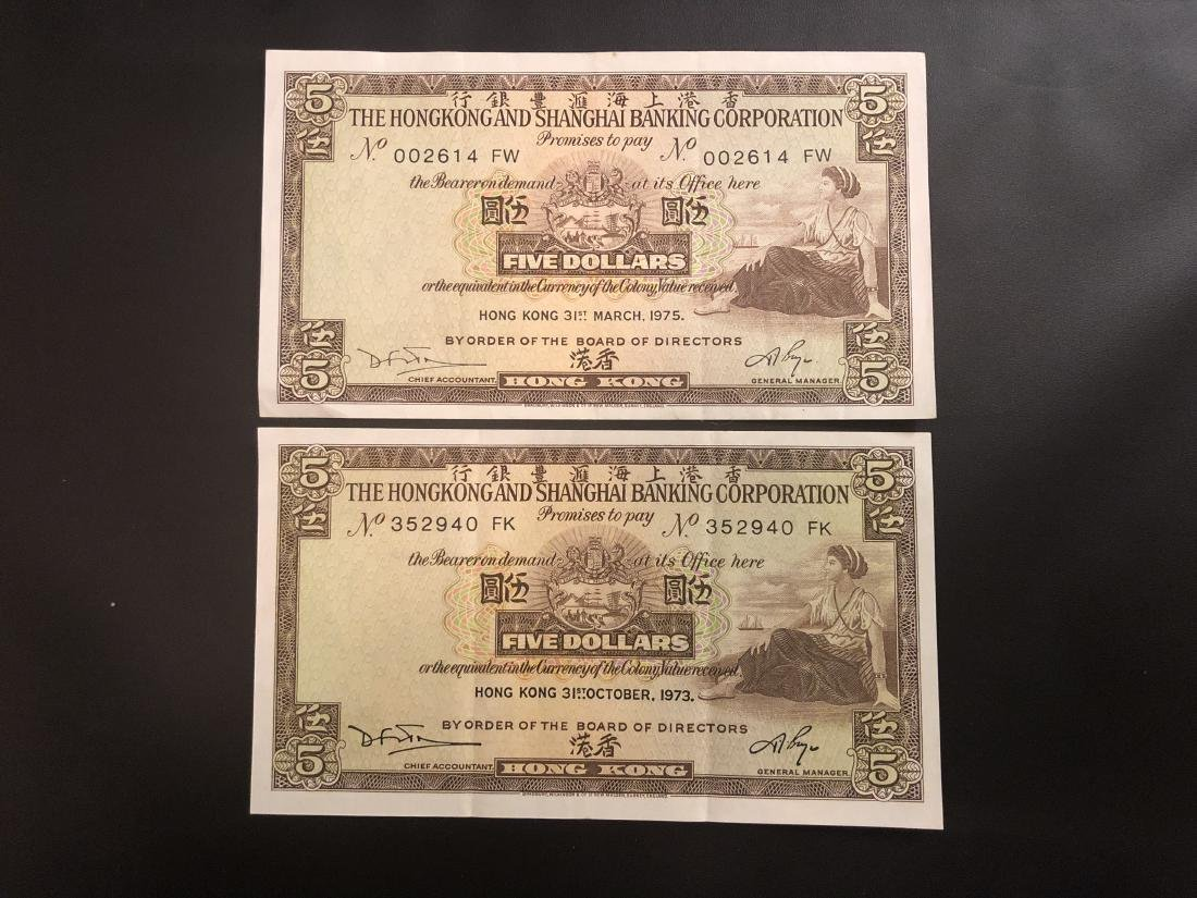 2 Five Dollars Paper Bill with Banknote