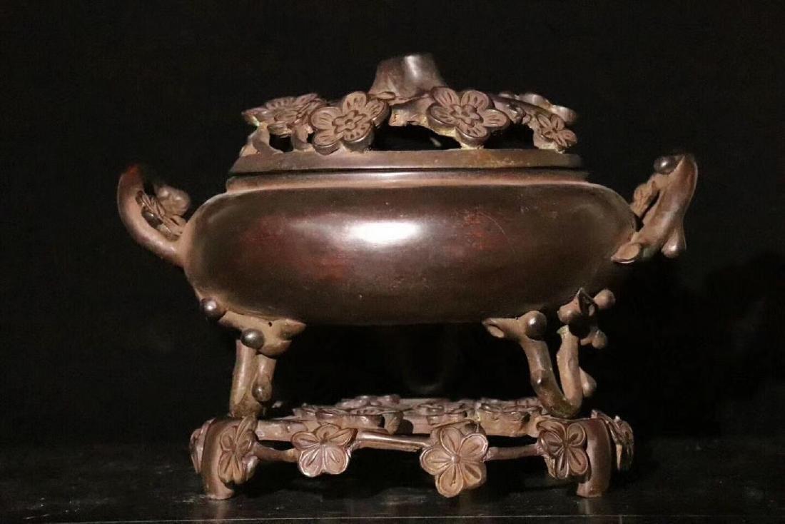A Carved Bronze Plum Blossom Censer