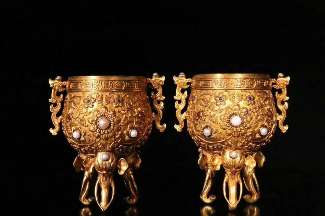 A Pair of Gilt Bronze Inlaid Precious Stone Cups