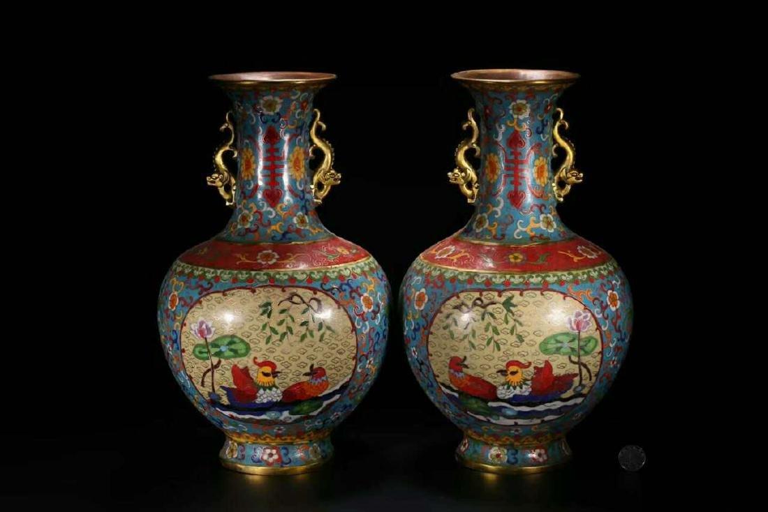 A Pair of Cloissone Bronze Vases