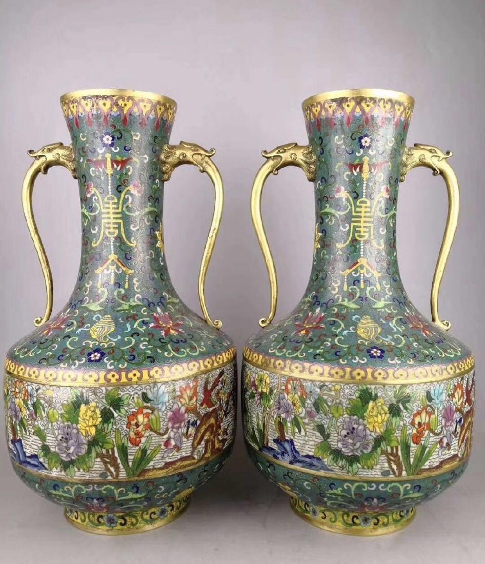 Qianlong Mark, A Pair of Cloisonne Bronze Vase
