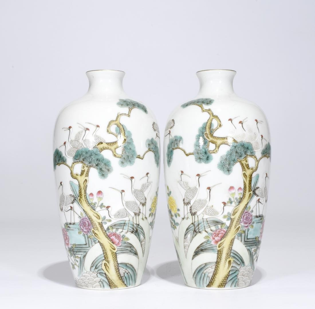 Guangxv Mark, A Pair of Famille Rose Vases