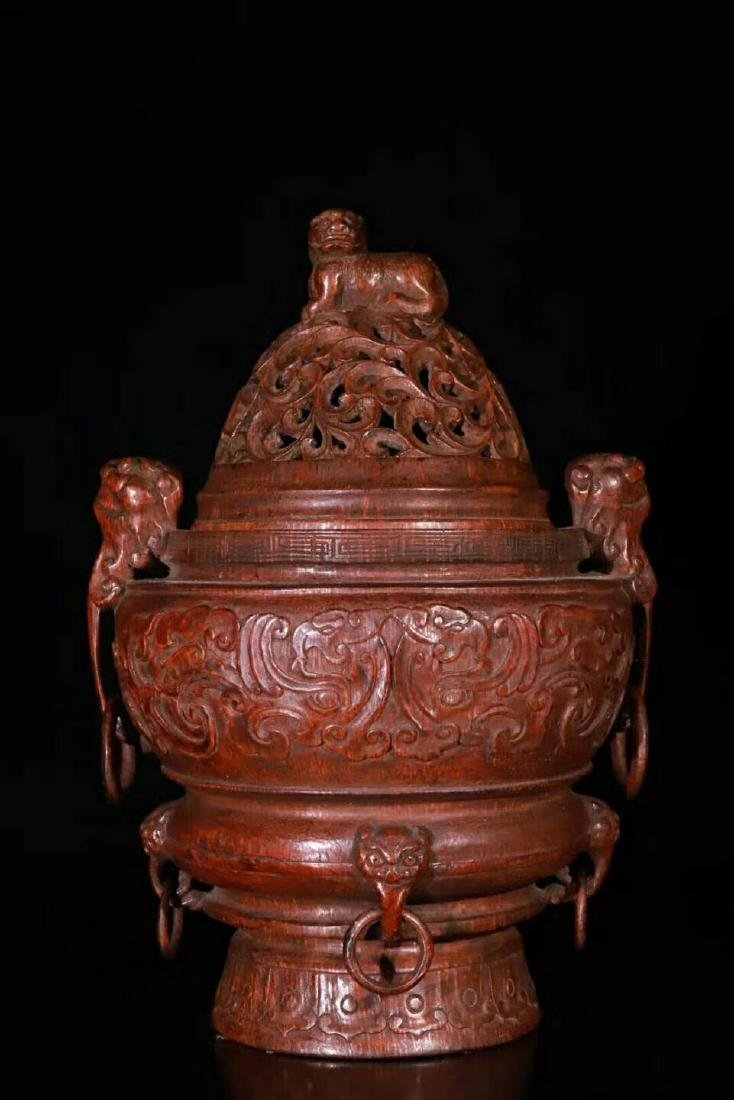 A Carved Bamboo Censer With Cover