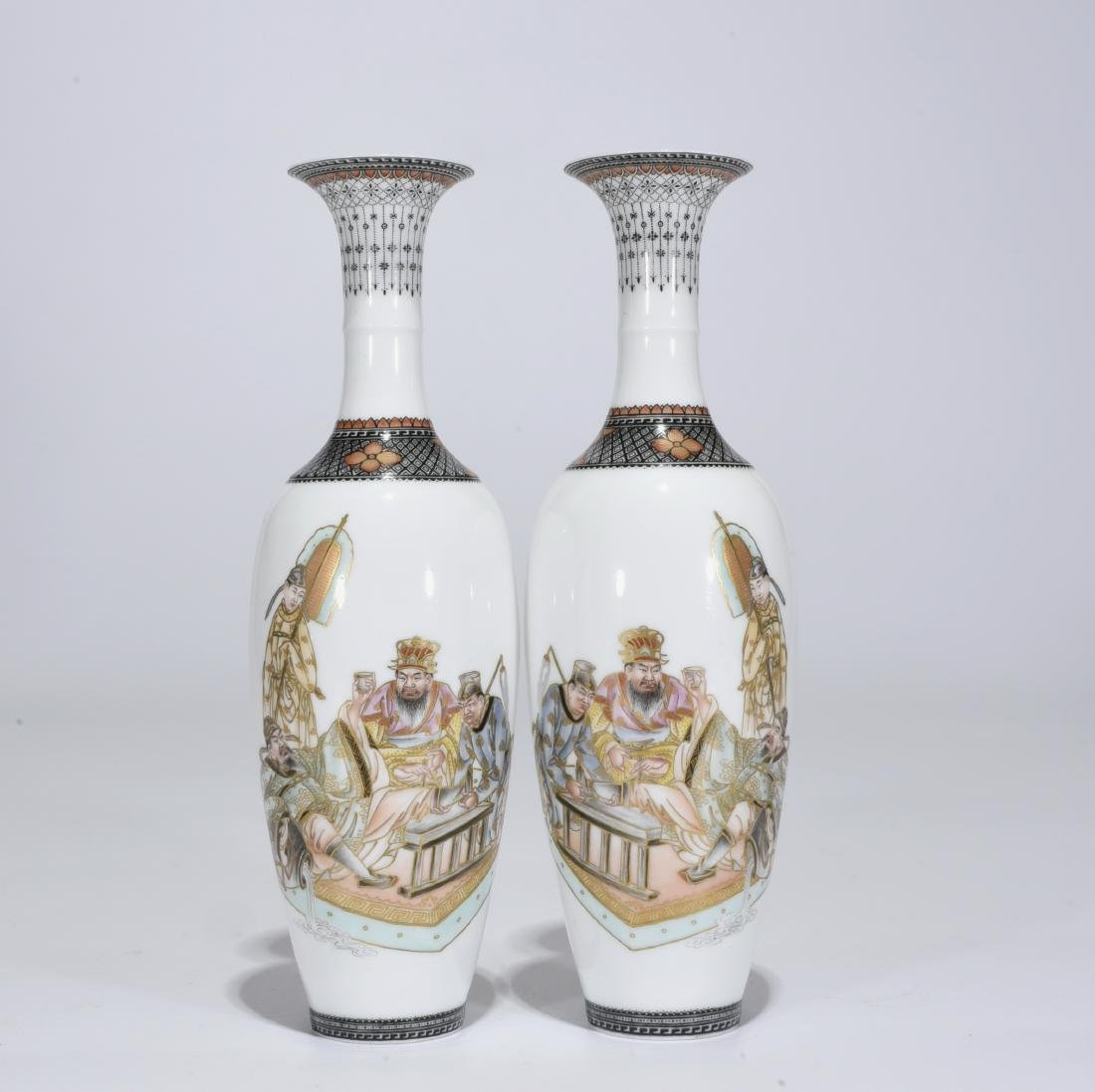 Yongzheng Mark, A Pair of Famille Rose Vases