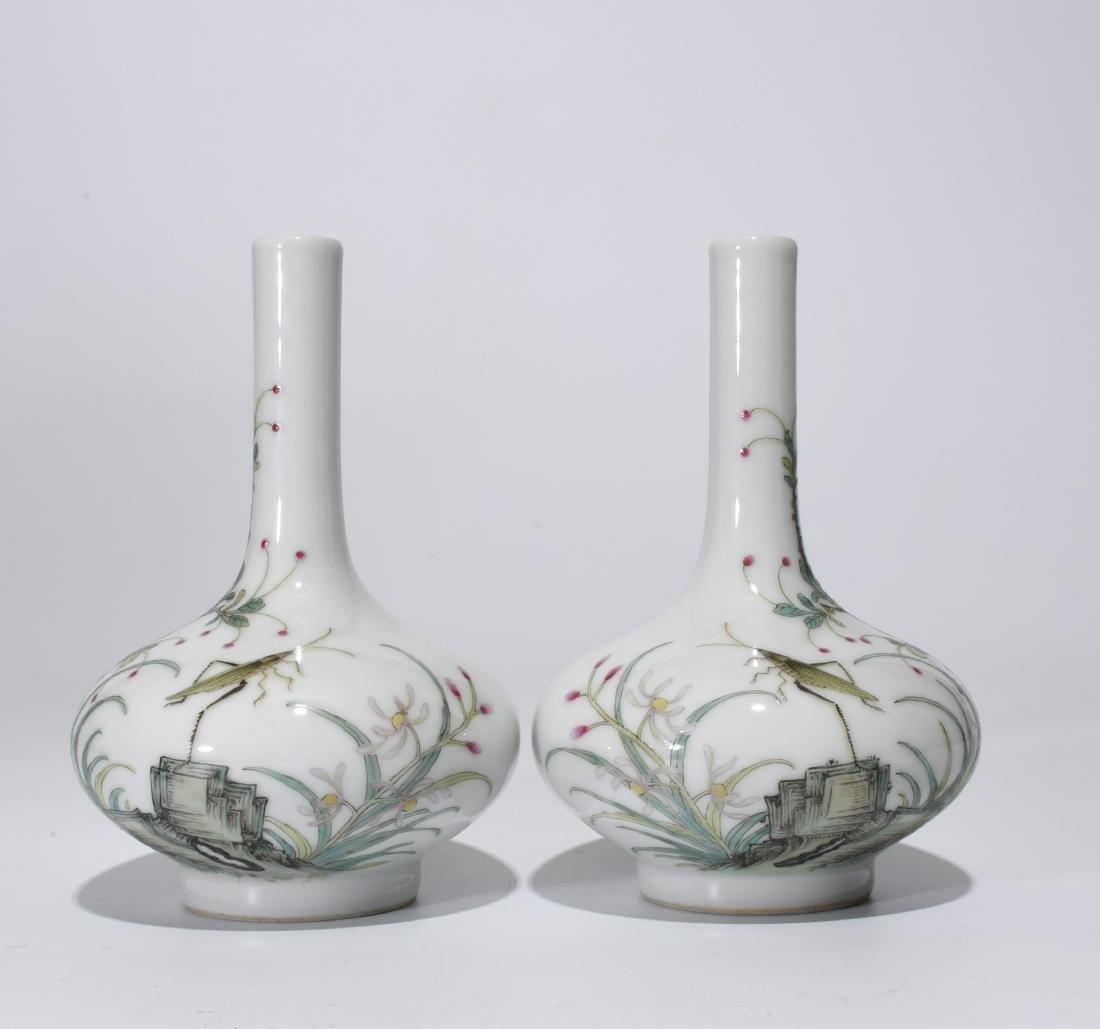 Qianlong Mark, A Pair of Famille Rose Bottle Vases