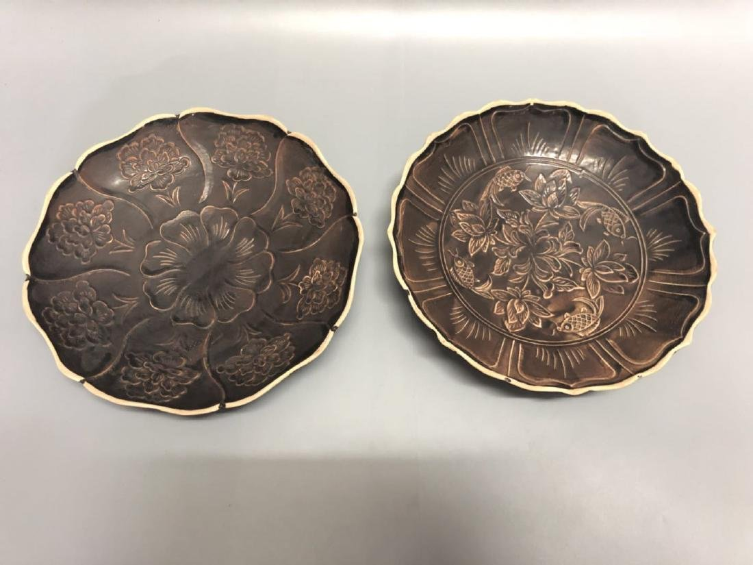 A Pair Black Glazed Ding Ware Plates