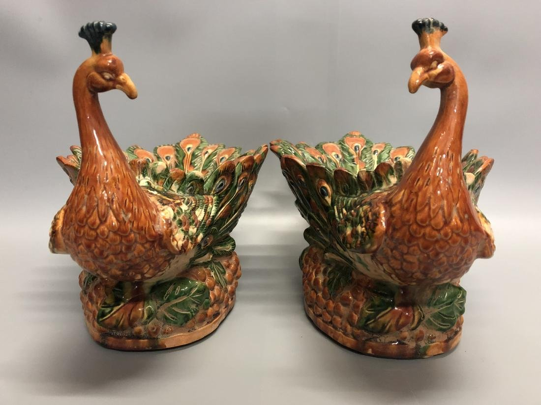 A Pair of Tang San Cai Peacock-Shape Dish