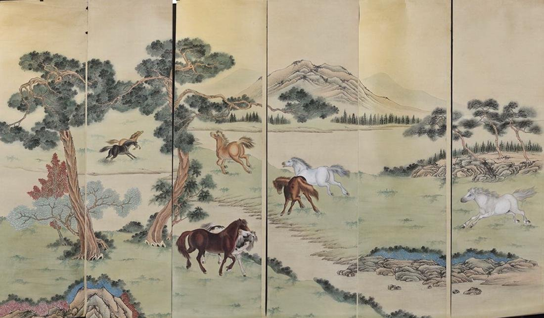 Chinese Ink and Color Painting of Horse