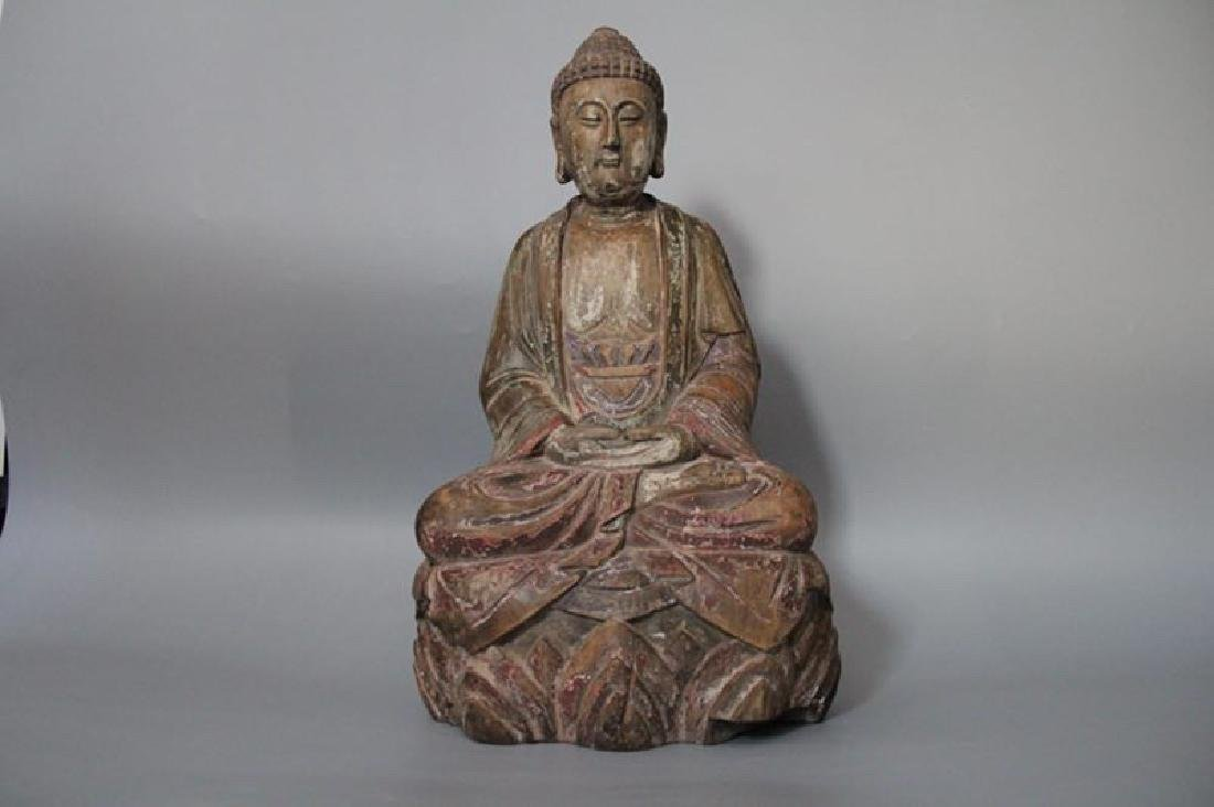 A Carved Wood Buddha of Sakyamuni
