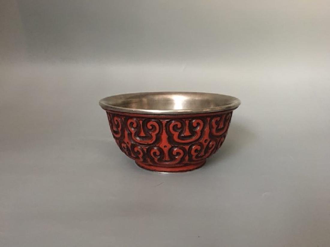 A Lacquer and Silver Bowl