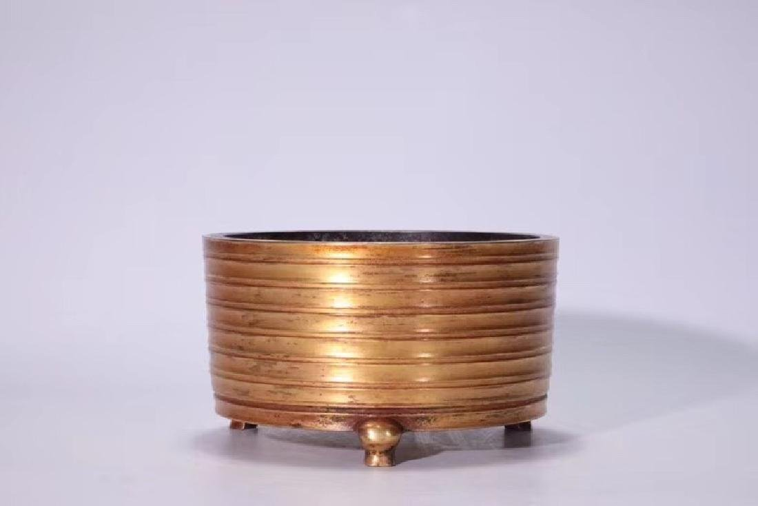 A Gilt Bronze Tripod Censer