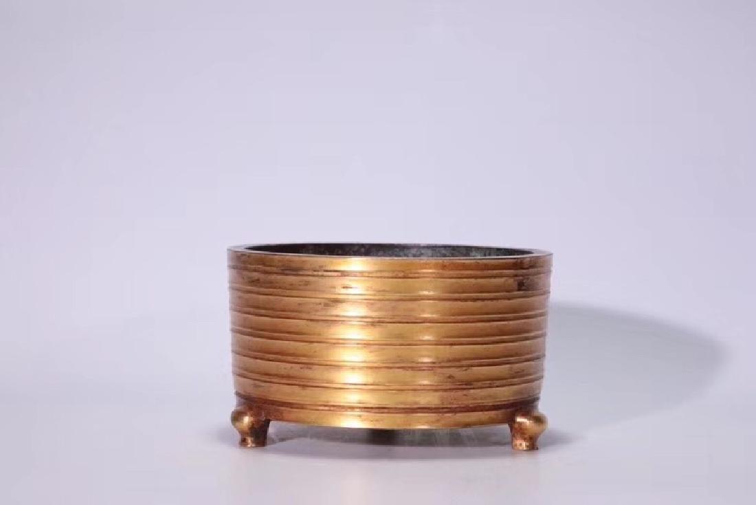 A Gilt Bronze Tripod Censer - 2