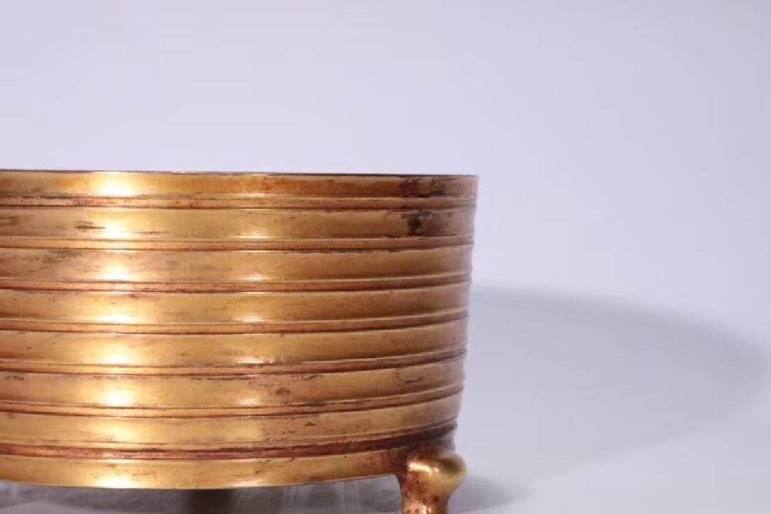A Gilt Bronze Tripod Censer - 5