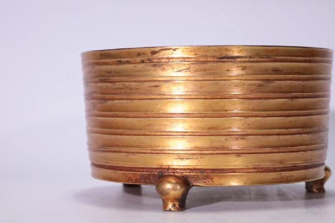 A Gilt Bronze Tripod Censer - 6