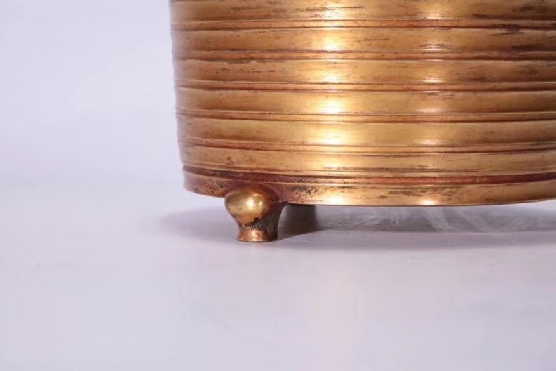 A Gilt Bronze Tripod Censer - 8