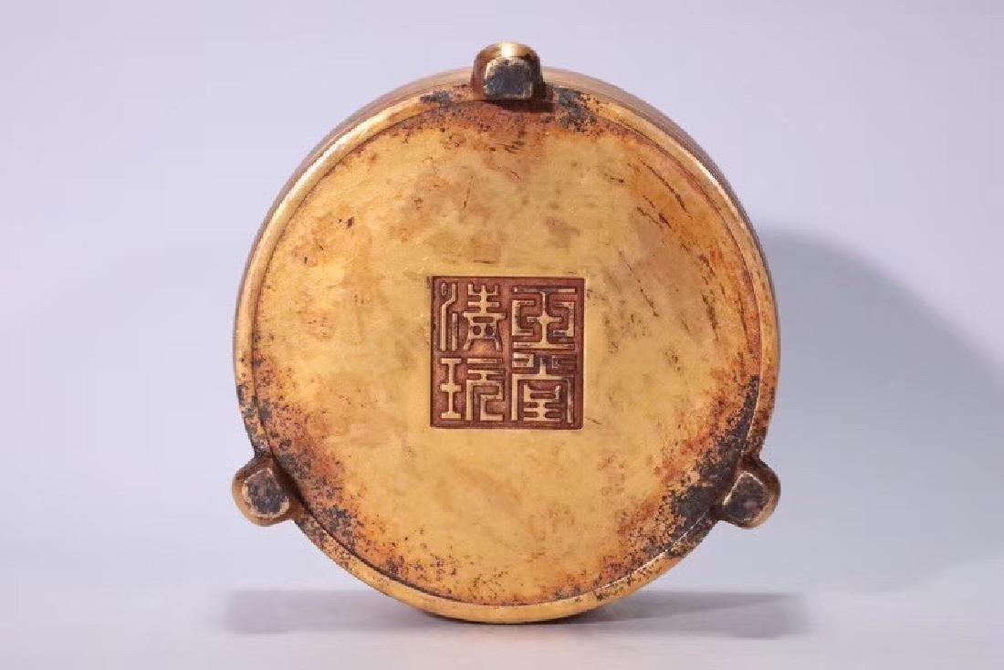 A Gilt Bronze Tripod Censer - 9