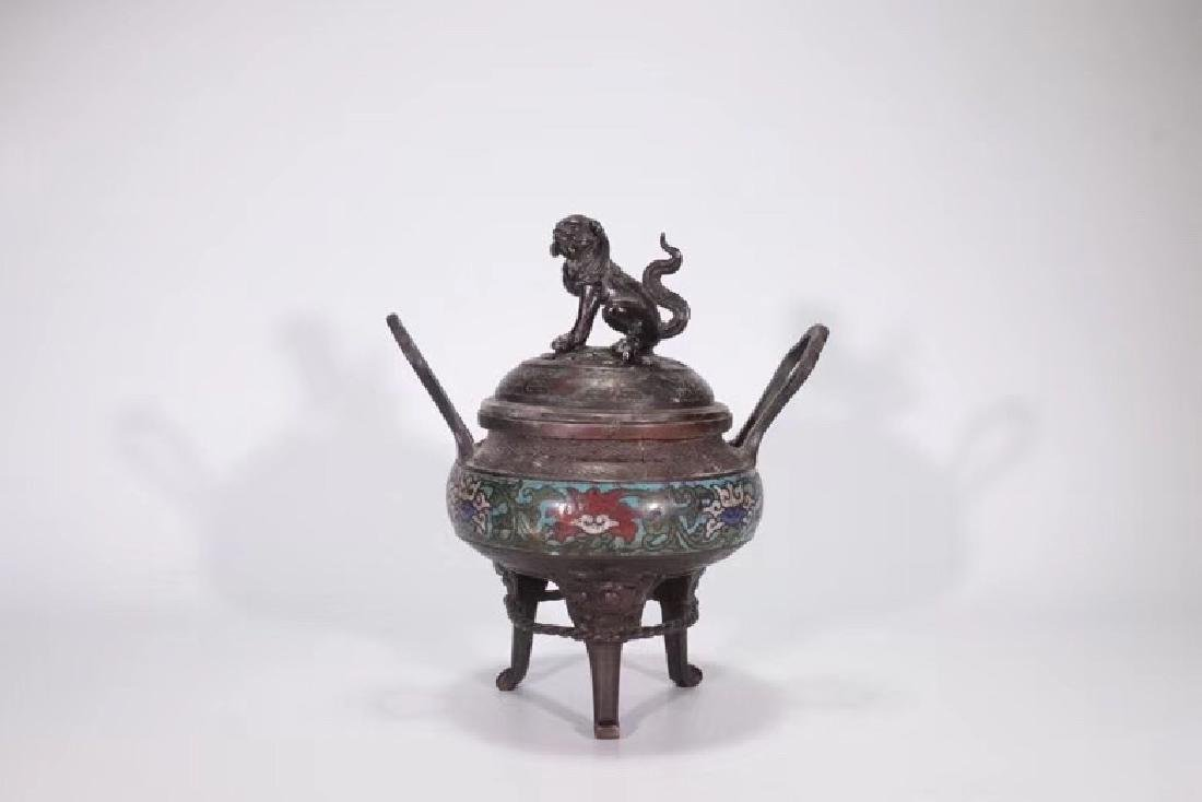 A Bronze Cloisonne Censer With Beast Cover